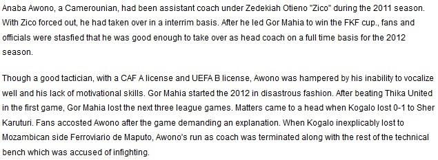 Anaba Awono Gor Mahia coach 2012