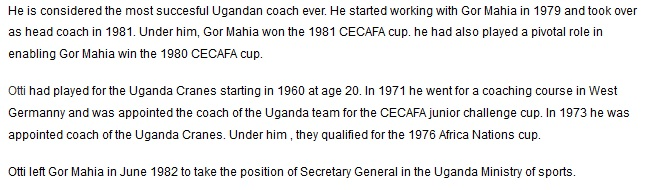 David Otti Gor Mahia coach 1981