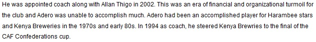Elly Adero Gor Mahia coach 2002