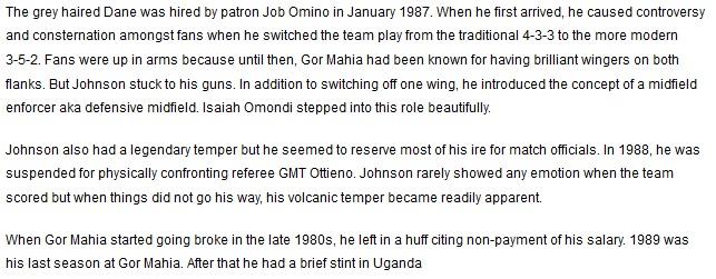 Jack Johnson Gor Mahia coach 1987