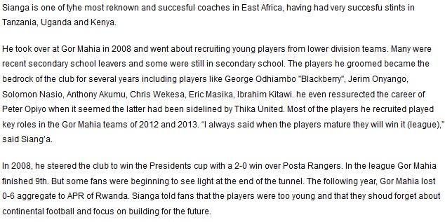 James Sianga Gor Mahia coach 2008