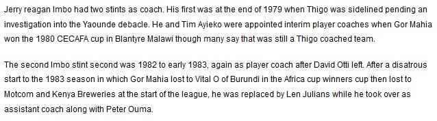 Jerry Imbo Gor Mahia coach 1982