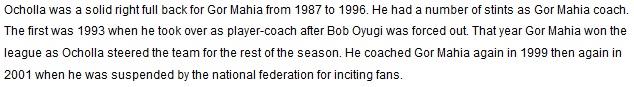 Tobias Ocholla Gor Mahia coach 1999, 2001
