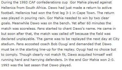 Peter Dawo Gor Mahia vs Hellenic