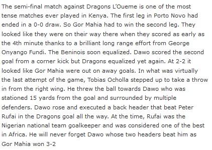 Gor Mahia vs Dragons L'Oueme