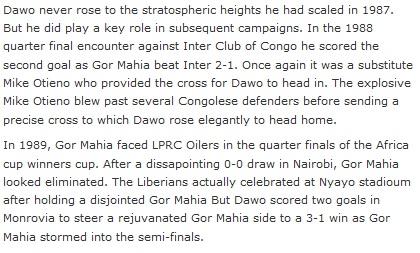 Dawo in Africa cup