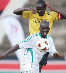 Peter Opiyo in action against Tusker